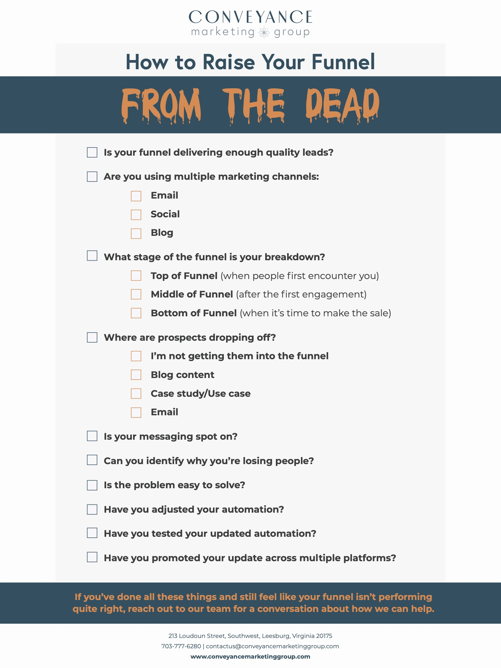 20201026-CMG-Funnel from the dead Checklist