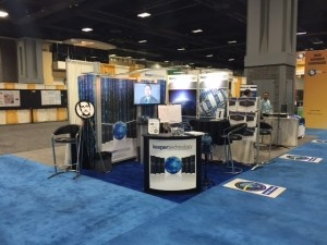 Trade Show Booth that conveys technology and data security, marketing strategies